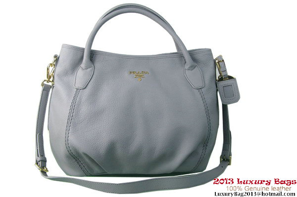 Prada BR4221 Grained Calf Leather Tote Bag Grey