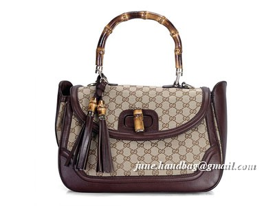 Gucci New Bamboo GG Fabric Large Top Handle Bag 240241 Coffee
