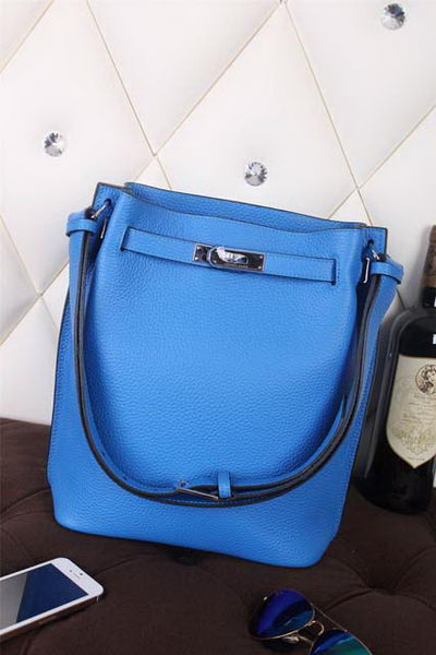 Hermes So Kelly Hobo Bag Original Leather Blue