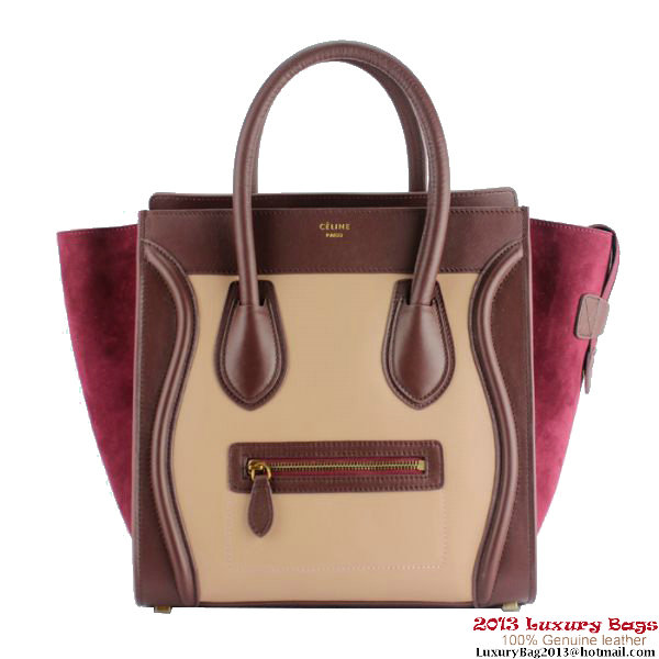 Celine Luggage Mini Bag Suede C88022 Apricot&Wine&Peach