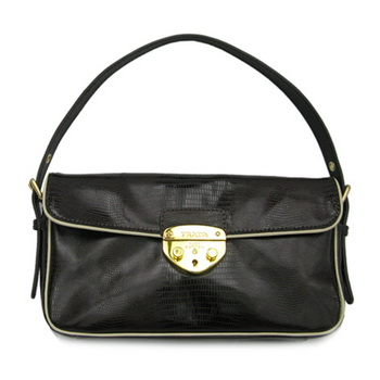 Prada Leather Lizard Veins Shoulder Bag BR4424 Dark Coffee