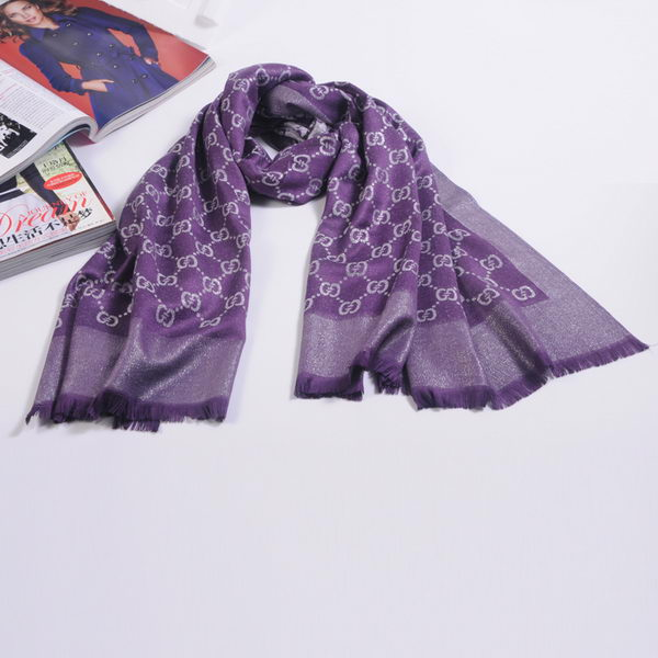 Gucci Scarves Silk WJGG11 Purple&SIlver