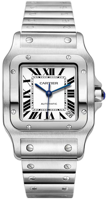 Cartier Santos Stainless Steel XL Fashionable Mens Wristwatch-W20098D6