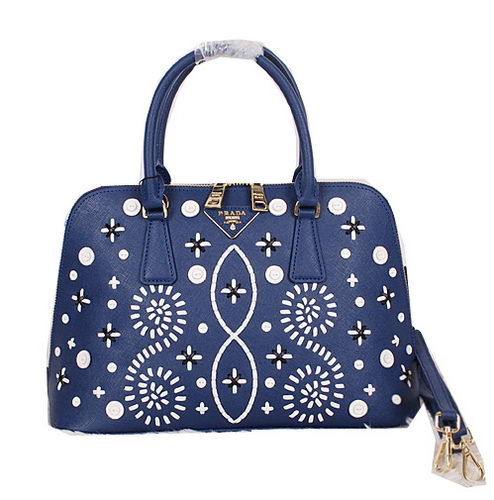 Prada Weave Leather Top Handle Bag BL0812 Blue