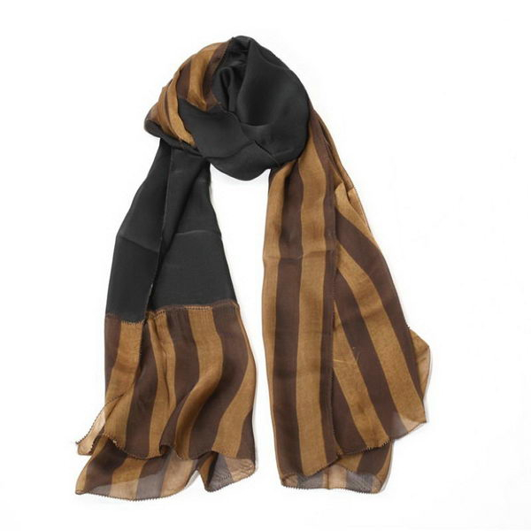 Fendi Scarves Silk WJFD04 Black&Brown
