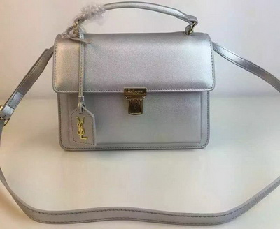 SAINT LAURENT Structured Top Handle Bag YSL5569 Silver