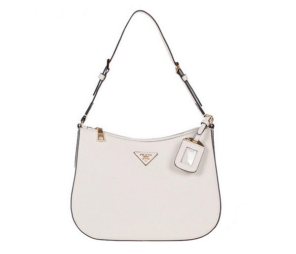 Prada Saffiano Leather Shoulder Hobo Bag BR5007 White