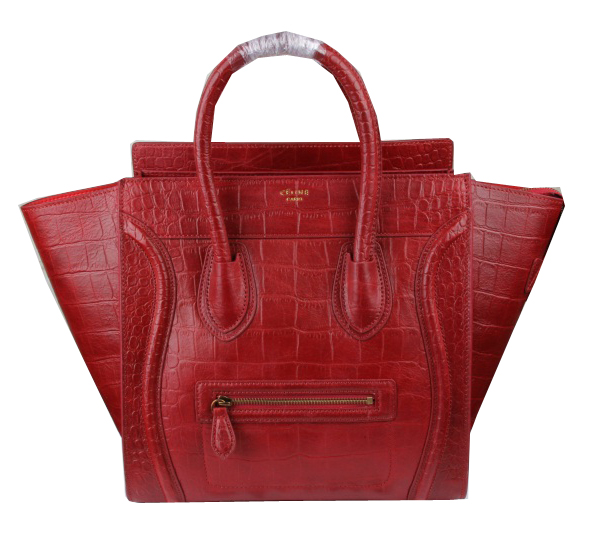 Celine Luggage Mini Tote Bags Croco Leather C3308 Red