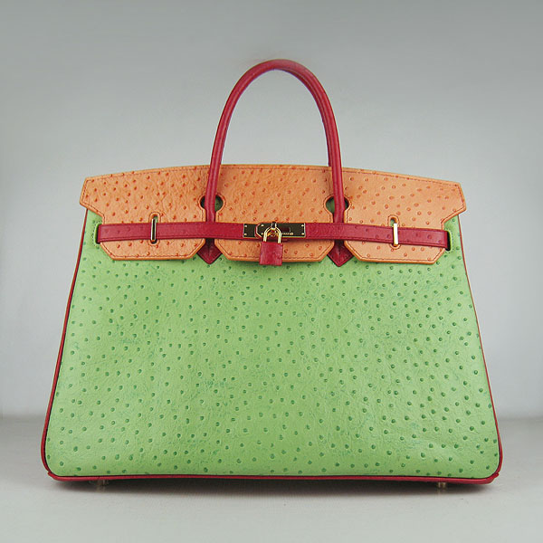 Hermes Birkin 40CM Ostrich Veins Leather Bag Red-Orange-Green 6099 Gold