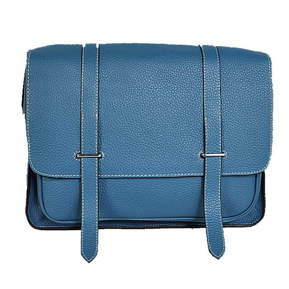 Hermes Steve 32CM Mens Bag Clemence Blue
