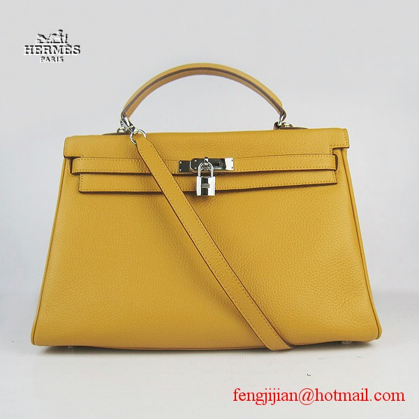 Hermes Kelly 35cm Togo Leather Bag Yellow 6308 Silver Hardware