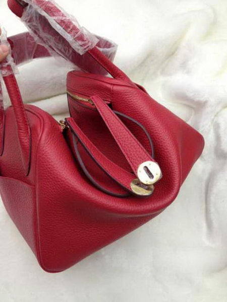 Hermes Lindy 30CM Red Leather Shoulder Bag HLD30 Gold