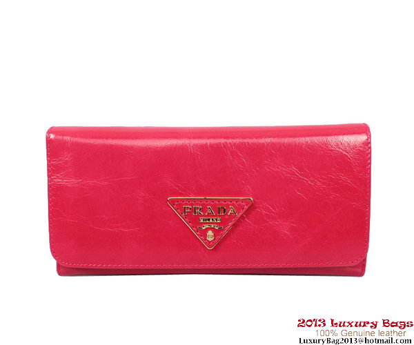 Prada Shiny Calf Leather Wallet PR514 Rose