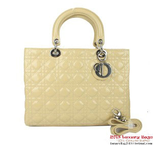Lady Dior Bag Medium Bag D9603 Apricot Patent Leather Silver