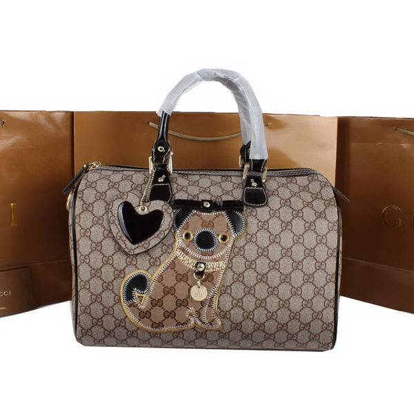 Gucci Joy Supreme Dog Canvas Boston Bag 189895 Brown