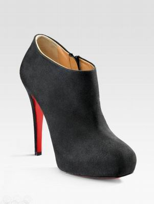 Christian Louboutin Black Suede Square-Toe Boots