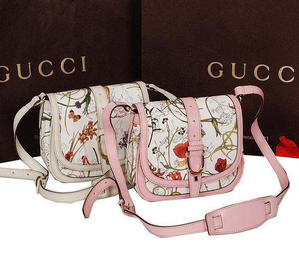 Gucci Nice Flora Leather Shoulder Bag 336749