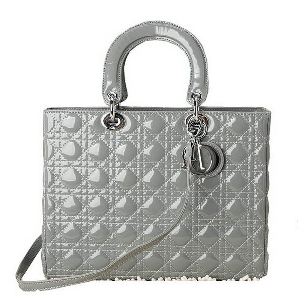 Christian Dior Dark Grey Patent Leather Jumbo Lady Dior Bag Silver