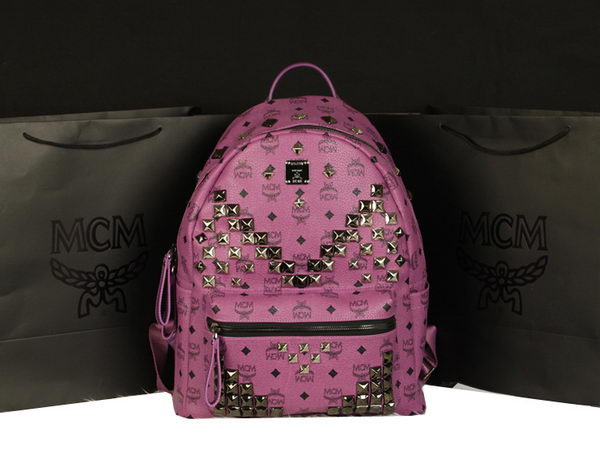 MCM Stark Backpack Jumbo in Calf Leather 8100 Purple