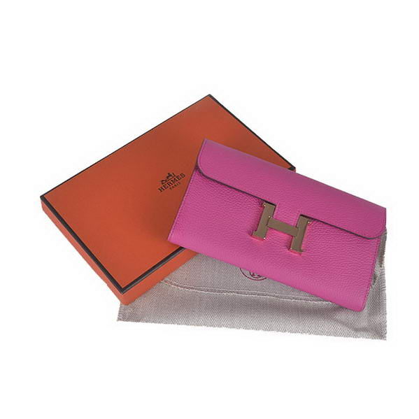 Hermes Constance Long Wallets Peach Calfskin Leather Gold