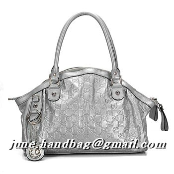 Gucci Sukey Guccissima Leather Medium Boston Bag 223974 Silver