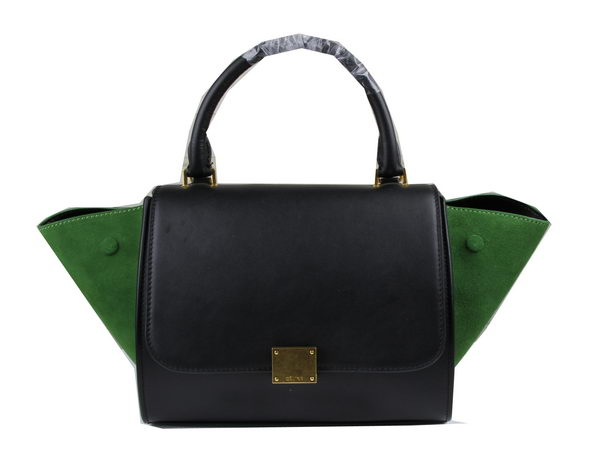 Celine MINI Trapeze Bag Suede Leather CT3345 Green&Black