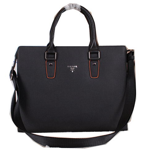 PRADA Saffiano Leather Business Briefcase 500466 Black