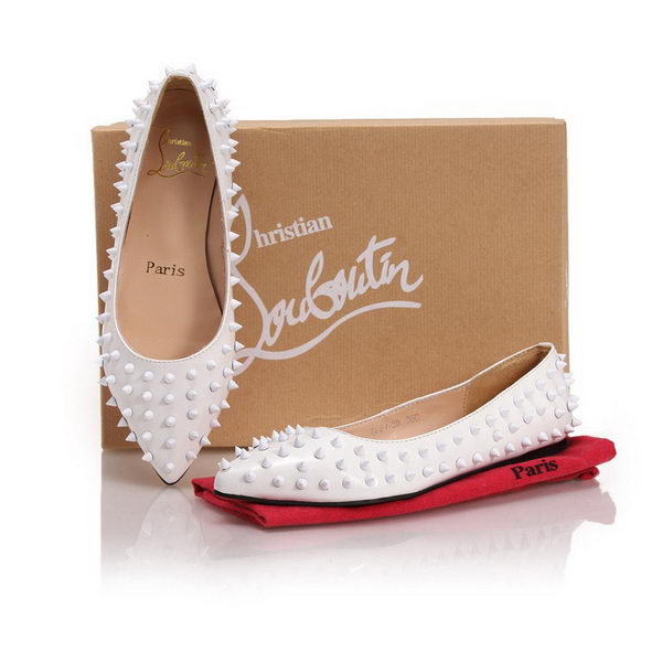 Christian Louboutin Patent Leather Flats CL10301 White
