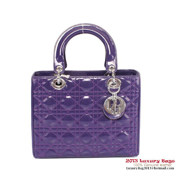 Lady Dior Bag Patent Small Bag CD6321 Purple