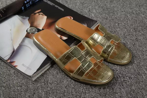Hermes Slipper Croco Leather HO0451 Gold