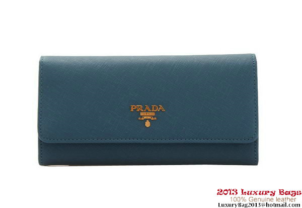 Prada Saffiano Leather Wallet 1M1132 SkyBlue