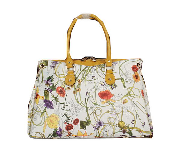 Gucci Flora Leather Medium Top Handle Bag 323688 Yellow