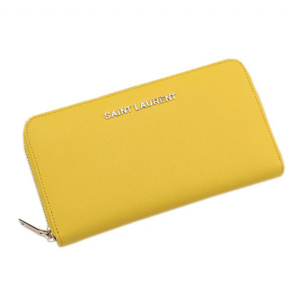 Yves Saint Laurent Saffiano Leather Zippy Wallet 340841 Yellow