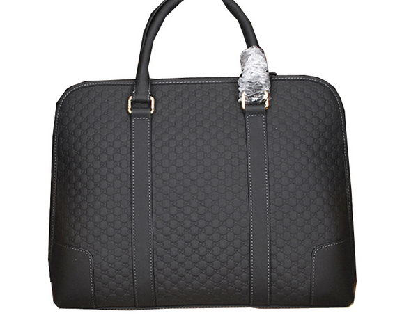 Gucci Guccissima Leather Business Briefcase 123021 Black