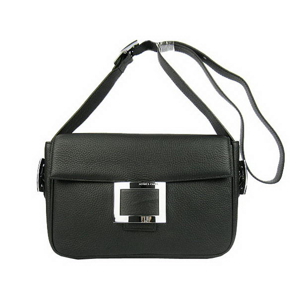 Hermes Buckle Shoulder Bag Calfskin Black