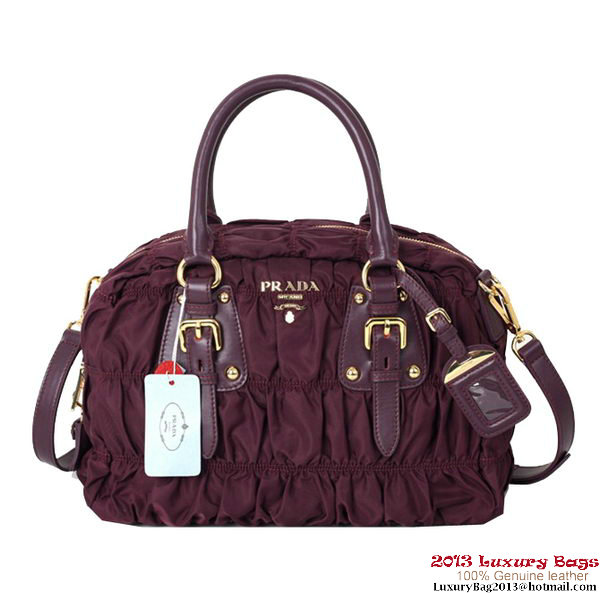 Prada Gaufre Fabric Top Handle Bag BN0800 Burgundy