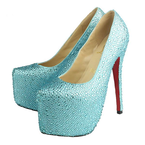 Christian Louboutin Glitter Daffodile 160mm Platform Pumps Light Blue