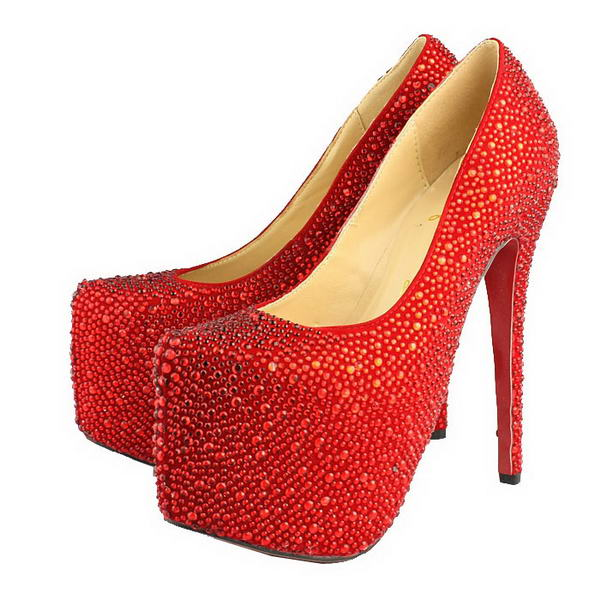 Christian Louboutin Glitter Daffodile 160mm Platform Pumps Red