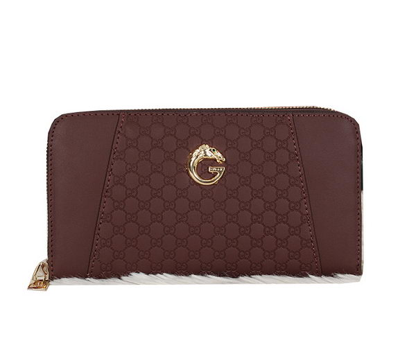 Gucci Guccissima Leather Zip Around Wallet 6007 Maroon