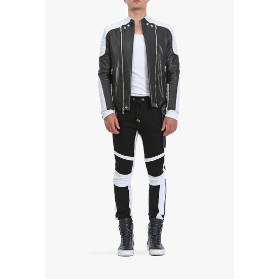 BALMAIN MEN PANELLED COTTON-JERSEY SWEATPANTS