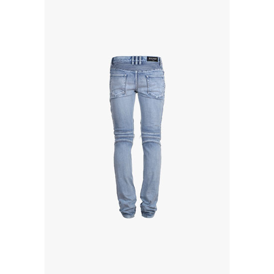 BALMAIN MEN SLIM FIT WASHED DENIM BIKER JEANS