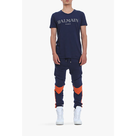 BALMAIN MEN BICOLOR QUILTED COTTON-JERSEY SWEATPANTS