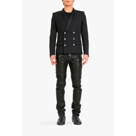 BALMAIN MEN RIBBED LEATHER BIKER PANTS