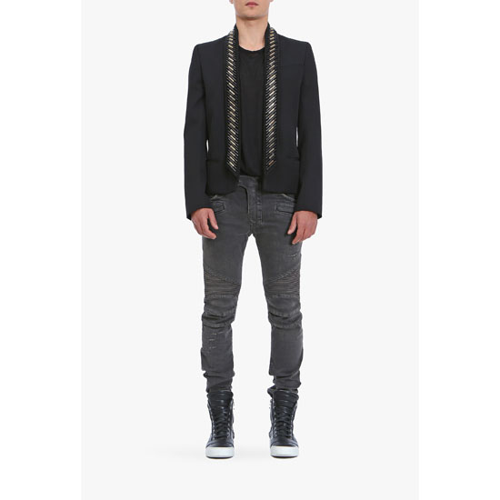 BALMAIN MEN WOOL TUXEDO JACKET WITH EMBROIDERED COLLAR