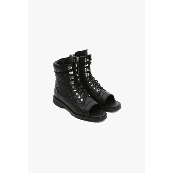 BALMAIN MEN OPEN-TOE QUILTED LEATHER LOW-BOOTS