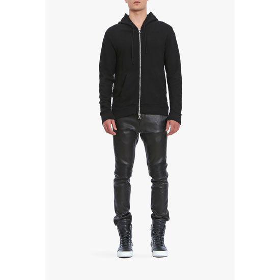 BALMAIN MEN ZIPPED SIDE COTTON-JERSEY HOODIE