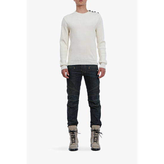 BALMAIN MEN BUTTON-EMBELLISHED COTTON SWEATER