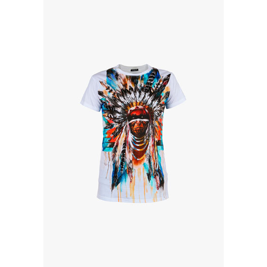 BALMAIN MEN MULTICOLOR AMERINDIAN PRINTED COTTON-JERSEY T-SHIRT