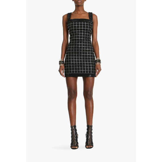 BALMAIN WOMEN STRETCH COTTON MINI DRESS WITH SPARKLES