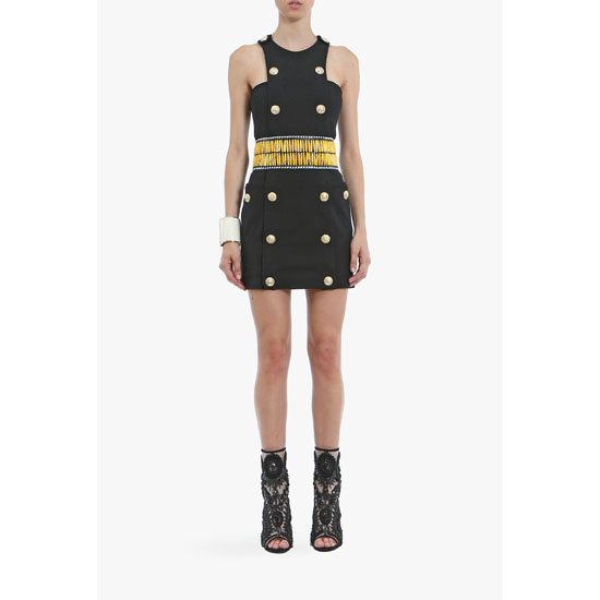 BALMAIN WOMEN COTTON-JERSEY MINI-DRESS WITH ENGRAVED BUTTONS